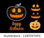 set dark jack lantern pumpkin... | Shutterstock .eps vector #1185547693