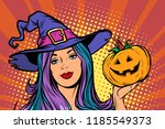 happy halloween witch with... | Shutterstock .eps vector #1185549373
