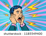 head of a man screaming. pop... | Shutterstock .eps vector #1185549400
