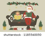 santa claus reads books  with... | Shutterstock .eps vector #1185560050