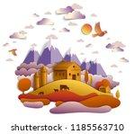 farm in scenic autumn landscape ...   Shutterstock .eps vector #1185563710