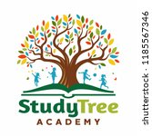 logo tree in the book with... | Shutterstock .eps vector #1185567346