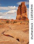 The Courthouse Towers sandstone monuments in Arches National Park near Moab, Utah - stock photo