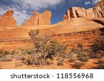 Sandstone monuments at Park Avenue in Arches National Park near Moab, Utah - stock photo