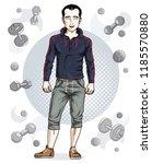 confident handsome brunet young ...   Shutterstock .eps vector #1185570880