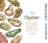 oyster shell banner  seafood... | Shutterstock .eps vector #1185578566