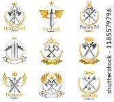 vintage weapon emblems set....   Shutterstock .eps vector #1185579796