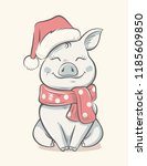 pig symbol 2019 new year.... | Shutterstock .eps vector #1185609850
