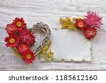 asters with heart and paper on... | Shutterstock . vector #1185612160