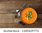 creamy pumpkin soup. autumn... | Shutterstock . vector #1185629773