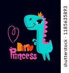 dinosaur girl t shirt design.... | Shutterstock .eps vector #1185635893