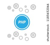 php text and circle blue button....