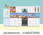 modern kitchen with furniture.... | Shutterstock .eps vector #1185657856