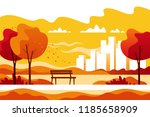 autumn city park with town... | Shutterstock .eps vector #1185658909