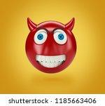 Yellow Devil Emoji On Yellow...