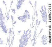 hand drawn pen and ink lavender ... | Shutterstock .eps vector #1185670363