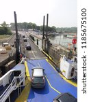 arrival and unloading car ferry ... | Shutterstock . vector #1185675100