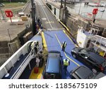 arrival and unloading car ferry ... | Shutterstock . vector #1185675109