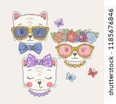 cute cats. cool boy  sweet... | Shutterstock .eps vector #1185676846