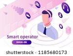 call center isometric 3d vector ... | Shutterstock .eps vector #1185680173