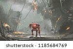 broken robot with low battery... | Shutterstock . vector #1185684769