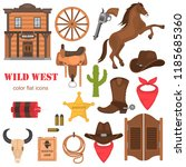 wild west color vector icons... | Shutterstock .eps vector #1185685360