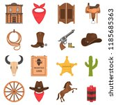 wild west color vector icons... | Shutterstock .eps vector #1185685363