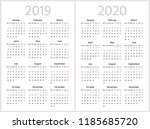 simple calendar for 2019 and...   Shutterstock .eps vector #1185685720