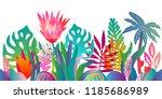 fantasy jungle garden. colorful ... | Shutterstock .eps vector #1185686989