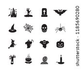 halloween icon set. vector. | Shutterstock .eps vector #1185690280