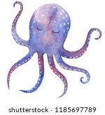 cute watercolor ocean octopus... | Shutterstock . vector #1185697789