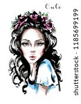 hand drawn beautiful young... | Shutterstock .eps vector #1185699199