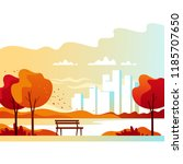autumn landscape. city park... | Shutterstock .eps vector #1185707650