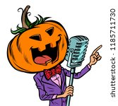 halloween pumpkin character...   Shutterstock .eps vector #1185711730