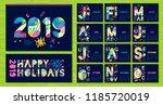 wall monthly calendar template... | Shutterstock .eps vector #1185720019