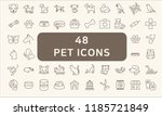 Stock vector simple set of pet related line icons 1185721849