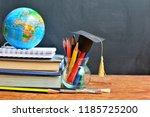 hat graduation model on color... | Shutterstock . vector #1185725200