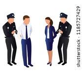 the policeman arrests the...   Shutterstock .eps vector #1185727429