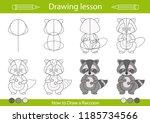 drawing lesson for children.... | Shutterstock .eps vector #1185734566