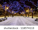 Snowy Avenue With Trees...