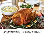thanksgiving turkey on dinner... | Shutterstock . vector #1185754033