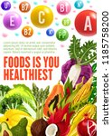 vitamins and minerals  healthy... | Shutterstock .eps vector #1185758200