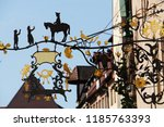 nostalgia shop sign of medieval.... | Shutterstock . vector #1185763393