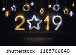 2019 silver and gold numbers... | Shutterstock .eps vector #1185766840
