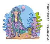 mermaid swimming undersea   Shutterstock .eps vector #1185806869