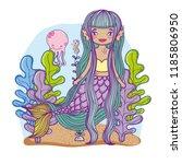 mermaid swimming undersea | Shutterstock .eps vector #1185806950