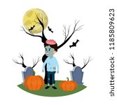 boy with zombie costume in the... | Shutterstock .eps vector #1185809623