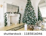 presents and gift boxes under... | Shutterstock . vector #1185816046
