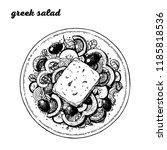 greek salad hand drawn vector... | Shutterstock .eps vector #1185818536
