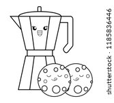 kawaii coffee maker and cookies ... | Shutterstock .eps vector #1185836446